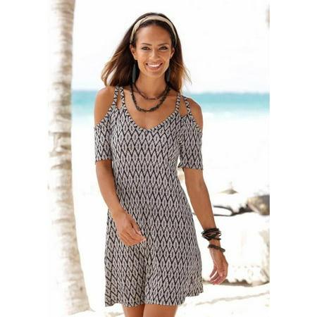 Strapless Full Skirt Dress (Women's Spring and Summer Printed Beach Skirt Sexy Casual V-neck Strapless Strap Dress )