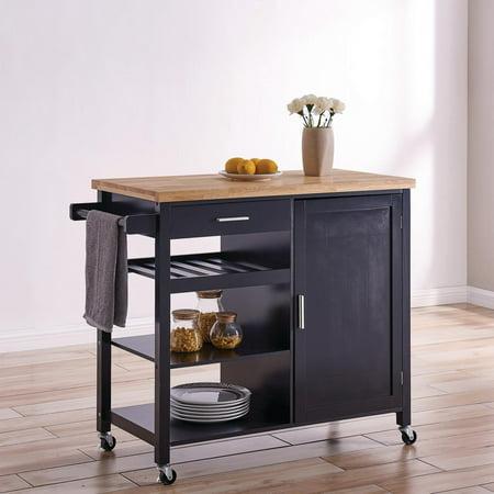 BELLEZE Wood Top Multi-Storage Cabinet Rolling Kitchen ...