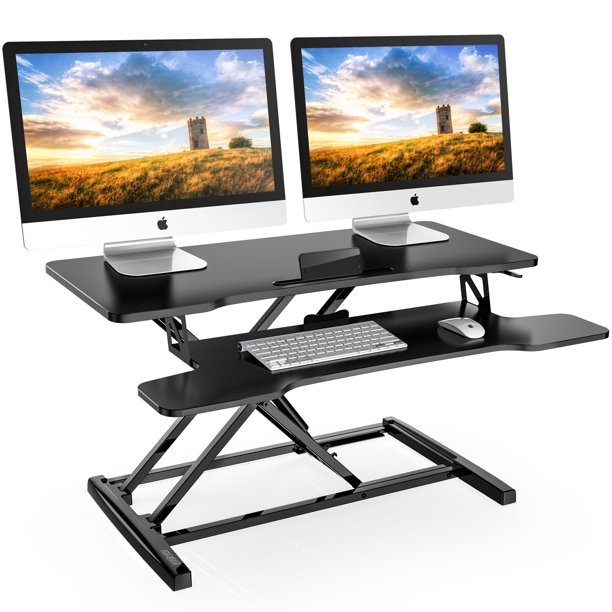 FITUEYES Standing Desk Converter 32inch Stand Up Desk Tabletop Workstation for Dual Monitor Riser SD308001WB-T