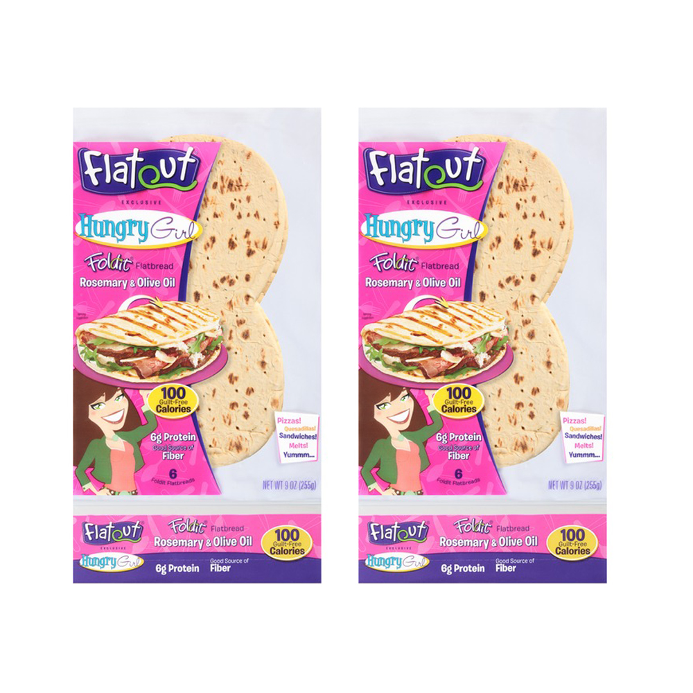 Flatout, Hungry Girl, Rosemary and Oilve Oil 2 Pack, Low Carb Bread, Low Carb Bread, Weight Watchers