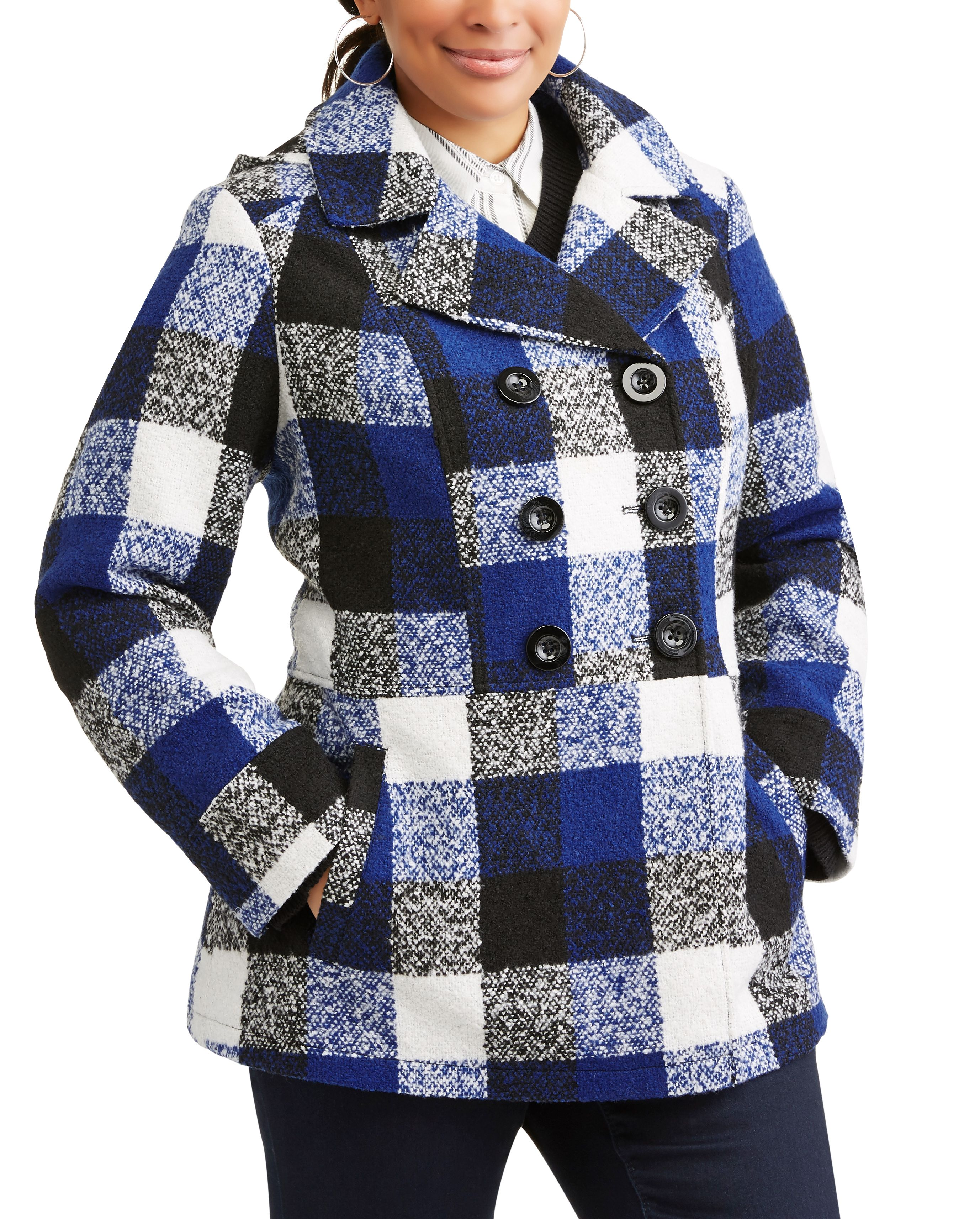 Woman's Plus Size Double-Breasted Faux Wool Peacoat With Hood by Generic