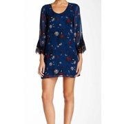 ASTR NEW Blue Women's Size XL Shift Floral Printed Lace Trim Dress