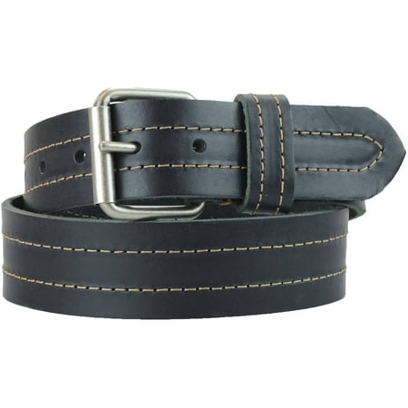 1-1/2 in. US Steer Hide Leather Double Stitch Men's Belt w/ Antq.Nickel Roller Buckle (Double Stitch Leather Belt)