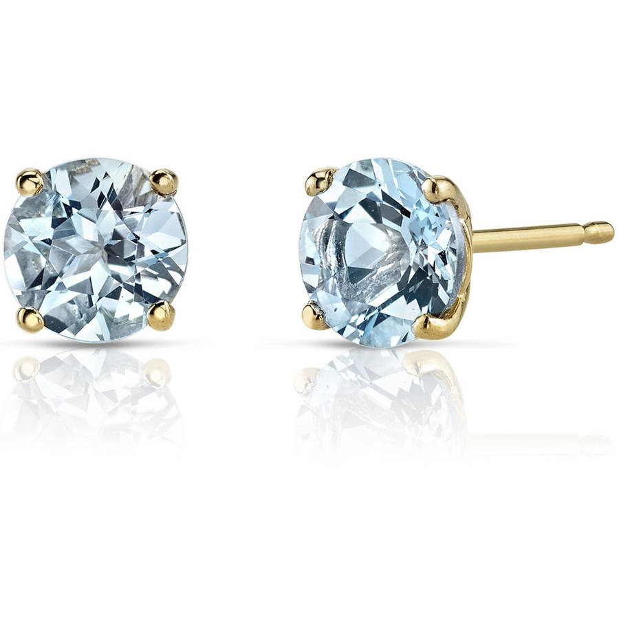 Oravo 1.50 Carat T.G.W. Round-Cut Aquamarine 14kt Yellow Gold Stud Earrings