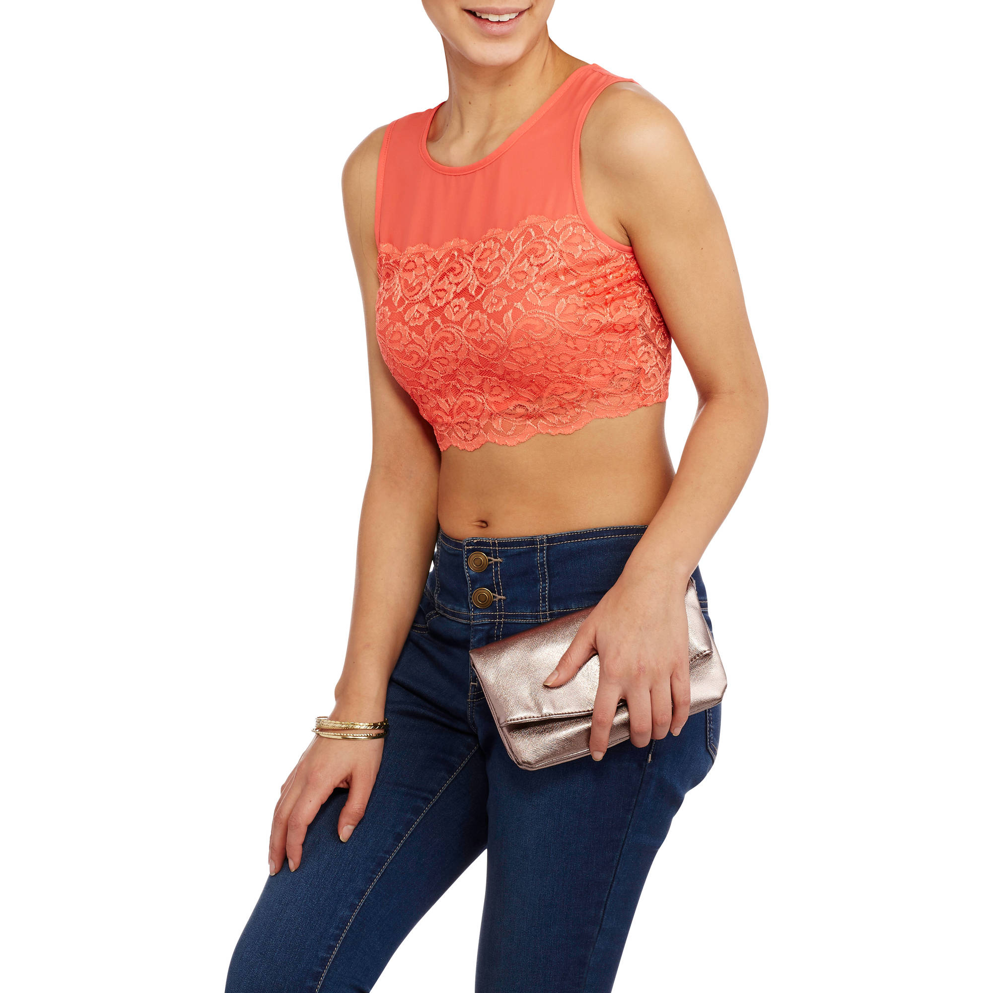 Ali & Kris Juniors' Lace Bottom Crop Top with Keyhole Back