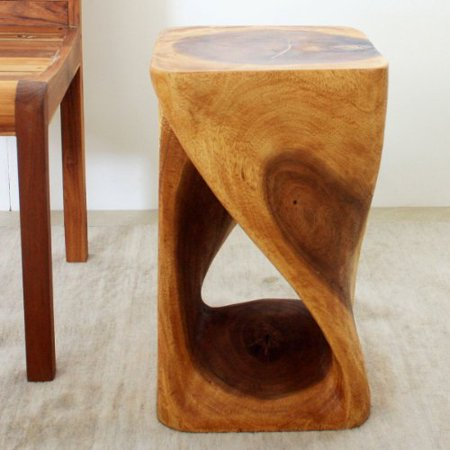 Friendly Wood - HAUSSMANN Twist Stool 12x12x20 inch Hgt Sust Monkey Pod Wood w Eco Friendly Oak Oil Finish