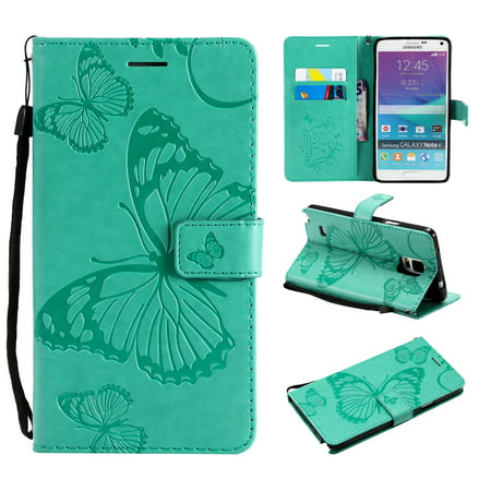 Note 4 Case, Samsung Galaxy Note 4 Case - Allytech Premium Wallet PU Leather with Fashion Embossed Floral Butterfly Magnetic Clasp Card Holders Flip Cover with Hand Strap, Green (Samsung Galaxy Note 4 Wallet Case)