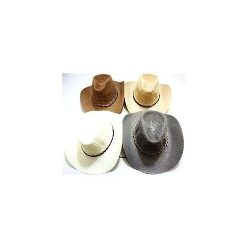 Bulk Buys Straw Cowboy Hats - Assorted Colors - Case of 24