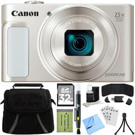 Canon PowerShot SX620 HS 20.2MP Digital Camera Silver w/ 32GB Accessory Bundle includes Camera, 32GB SDHC Memory Card, Bag, Mini Tripod, Screen Protectors, Cleaning Kit, Beach Camera Cloth and (Bag Kit Screen)