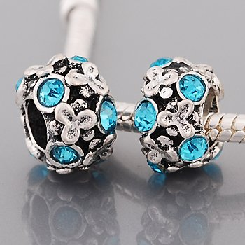 Aqua Blue Rhinestone Flowers Charm Bead. Compatible With Most Pandora Style Charm Bracelets. Style Beaded Charm