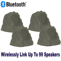 Theater Solutions B43GR Fully Wireless 240 Watt Rechargeable Battery Bluetooth Rock 4 Speaker Set Slate Grey Link Up To 99 Speakers Wirelessly