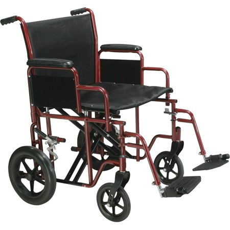 "Drive Medical Bariatric Steel Transport Chair 22"", Blue, 450 lb Weight Capacity, Black Upholstery"