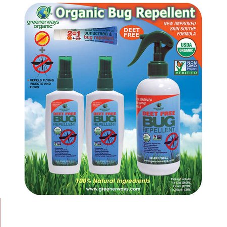 Bug Off 3 Piece - Greenerways Organic Bug Repellent + Sunscreen Bug Repellent  (12oz + 2 X 4oz + .5oz ) 4 piece