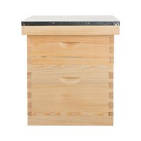 Complete Bee Hive Box for 10 Deep Frame 10 Medium Frame w/ Metal Roof for Beekeeping