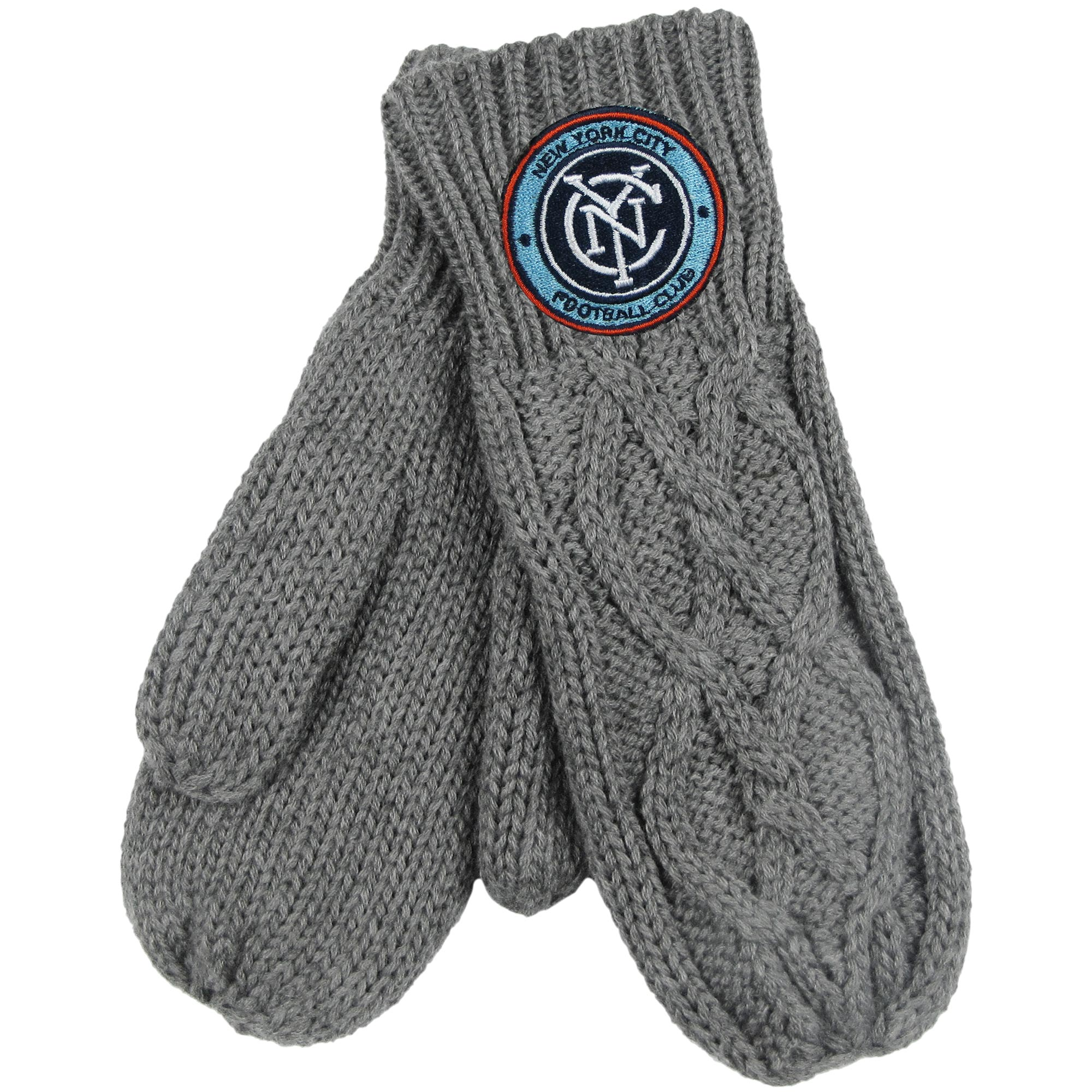 New York City FC ZooZatz Women's Cable Knit Mittens - Charcoal - No Size