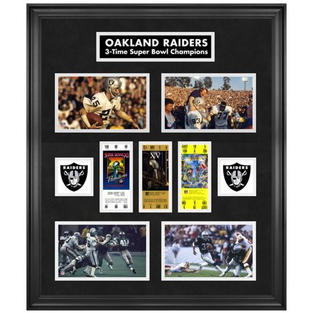 Oakland Raiders Framed Super Bowl Replica Ticket & Photo Collage