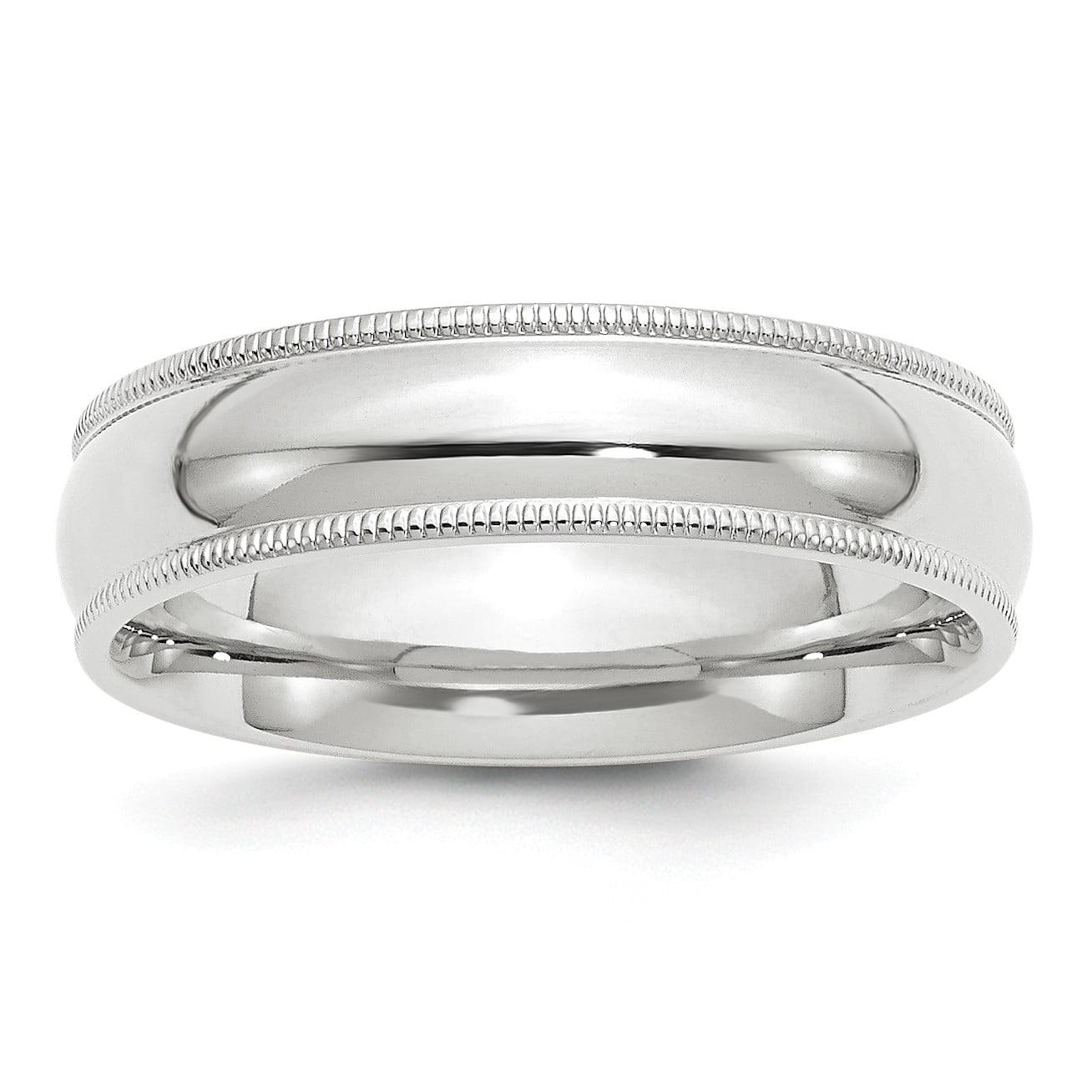 Bonyak Jewelry 10k White Gold 3 mm Milgrain Comfort-Fit Band Size 12.5