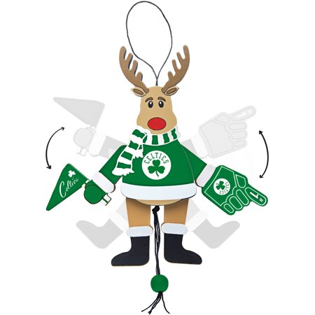 Topperscot by Boelter Brands NBA Wooden Cheering Reindeer Ornament, Boston Celtics