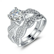 devuggo 128 carat tcw round cut cz 925 sterling silver wedding rings bridal set - Wedding Set Rings