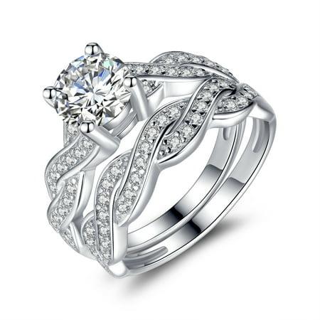 1.28 Carat TCW Round Cut CZ 925 Sterling Silver Wedding Rings Bridal Set Cubic Zirconia Set
