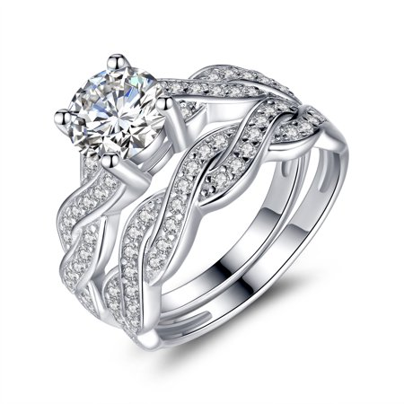 1.28 Carat TCW Round Cut CZ 925 Sterling Silver Wedding Rings Bridal Set Round Bridal Set
