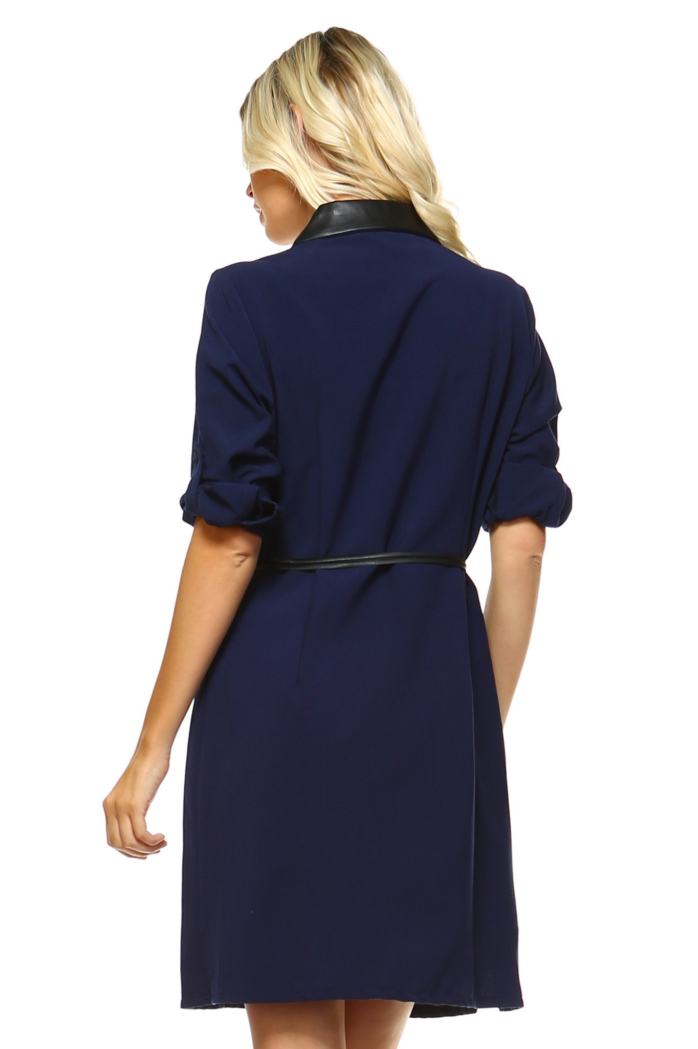 Sharagano Sharagano Womens Belted Shirt Dress With Leather Collar