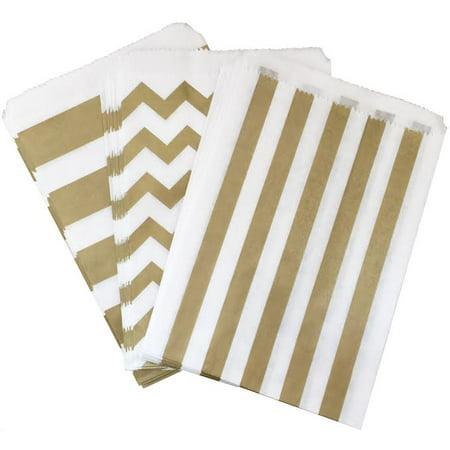 Gold Stripe and Chevron Paper Bags - Favor Sacks Pack of 48 - Sack Racing Bags