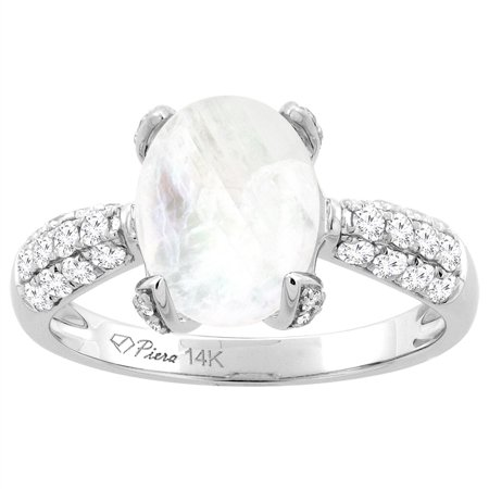 5f559096a5380 14K White Gold Natural Rainbow Moonstone Engagement Ring Oval 10x8 mm &  Diamond Accents, size 6