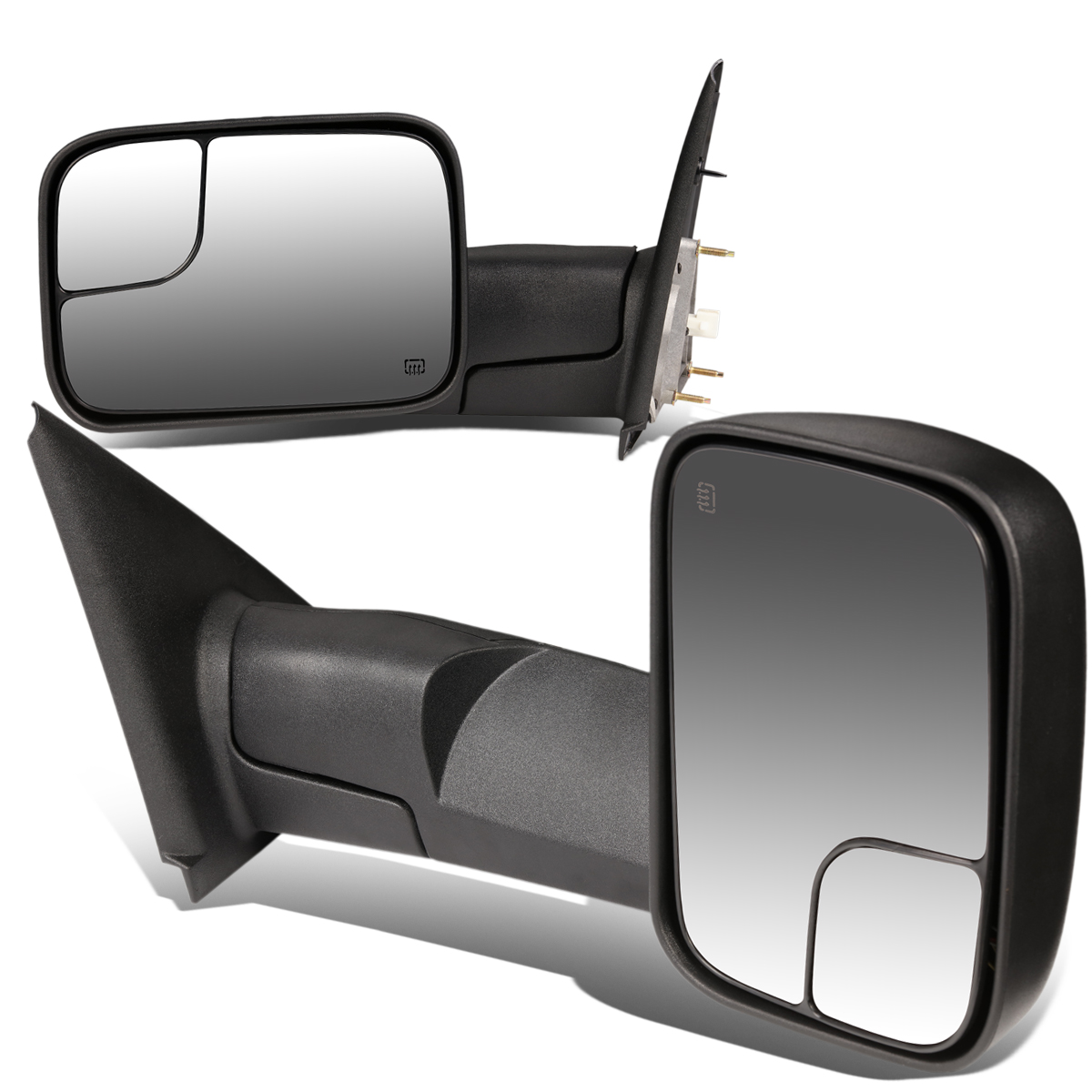 For 02-09 Ram 1500 / 2500 / 3500 Pair of Black Powered + Heated Glass + Manual Foldable Side Towing Mirrors 05 06 07 08