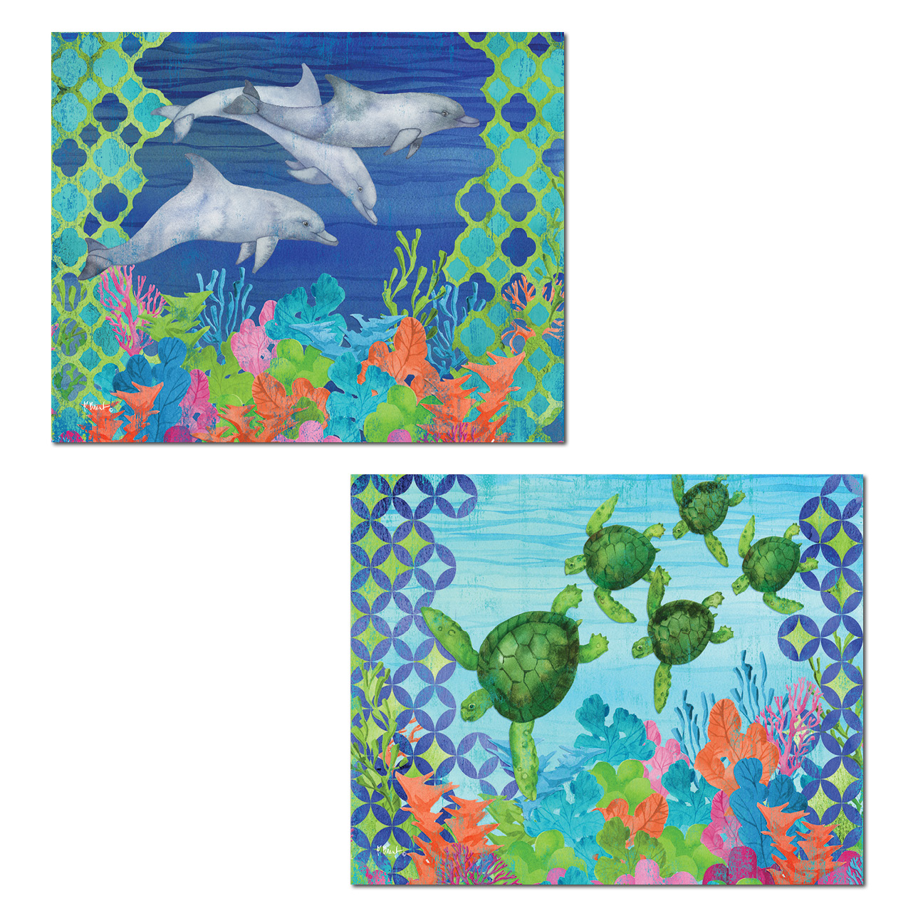 Beautiful Watercolor-Style Under Water Dolphin and Turtle Poster Prints; Coastal Decor; Two 14x11in Poster Prints