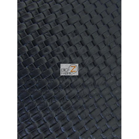 Lattice Basket Weave Upholstery Vinyl Fabric / Black / Sold By The Yard