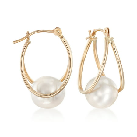 Ross-Simons 8-9mm Cultured Pearl Double Hoop Earrings in 14kt Yellow Gold Vintage Estate 14k Gold Pearl