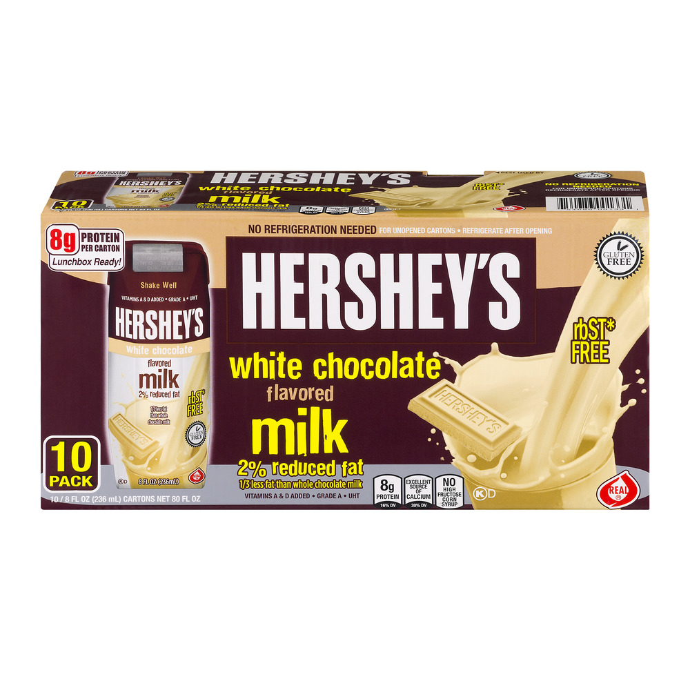 Hershey's White Chocolate Milk 2% Reduced Fat 10 PK, 8.0 FL OZ by Diversified Foods Inc