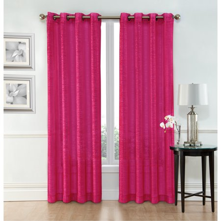 "Ruthy's Textile Pink Sheer Curtains – 2 x 54"" x 84"" Panels, Rod Pocket Top - Voile Drapes - for Bedroom, Living Room or Dining Room Windows ()"