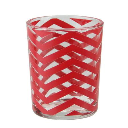 Basic Luxury Strawberry Margarita Red Chevrons Glass Tea Light Candle Holder