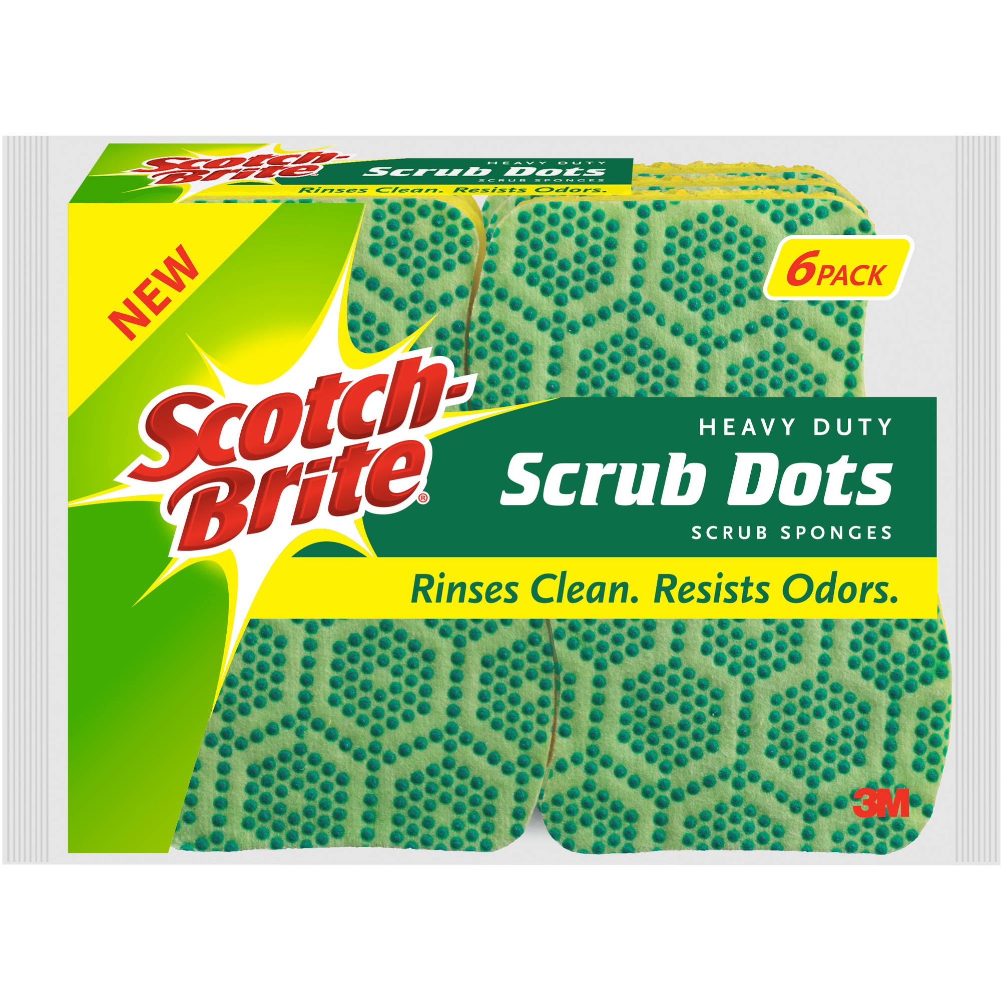 Scotch-Brite Scrub Dots Heavy Duty Scrub Sponge, 6 Pack