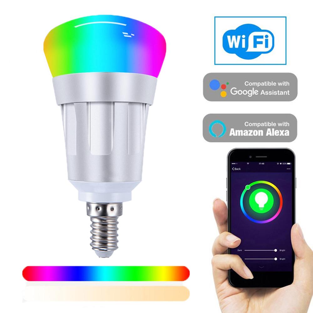 1//2//4PCS GU10 LED Smart Wifi Light Bulb Lamp Warm Cool White RGB APP Control