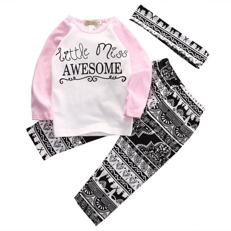 Boutique Kids Baby Girls Top T-shirt Pants Leggings Headband Outfits Clothes Set - Childrens Boutiques