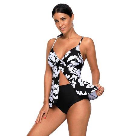 Women Swimwear Tankini Celebrity White Paper Cut Print Sexy Flyaway Swimwear for Women (Small,MultiColor) New Ladies Celebrity Fashion