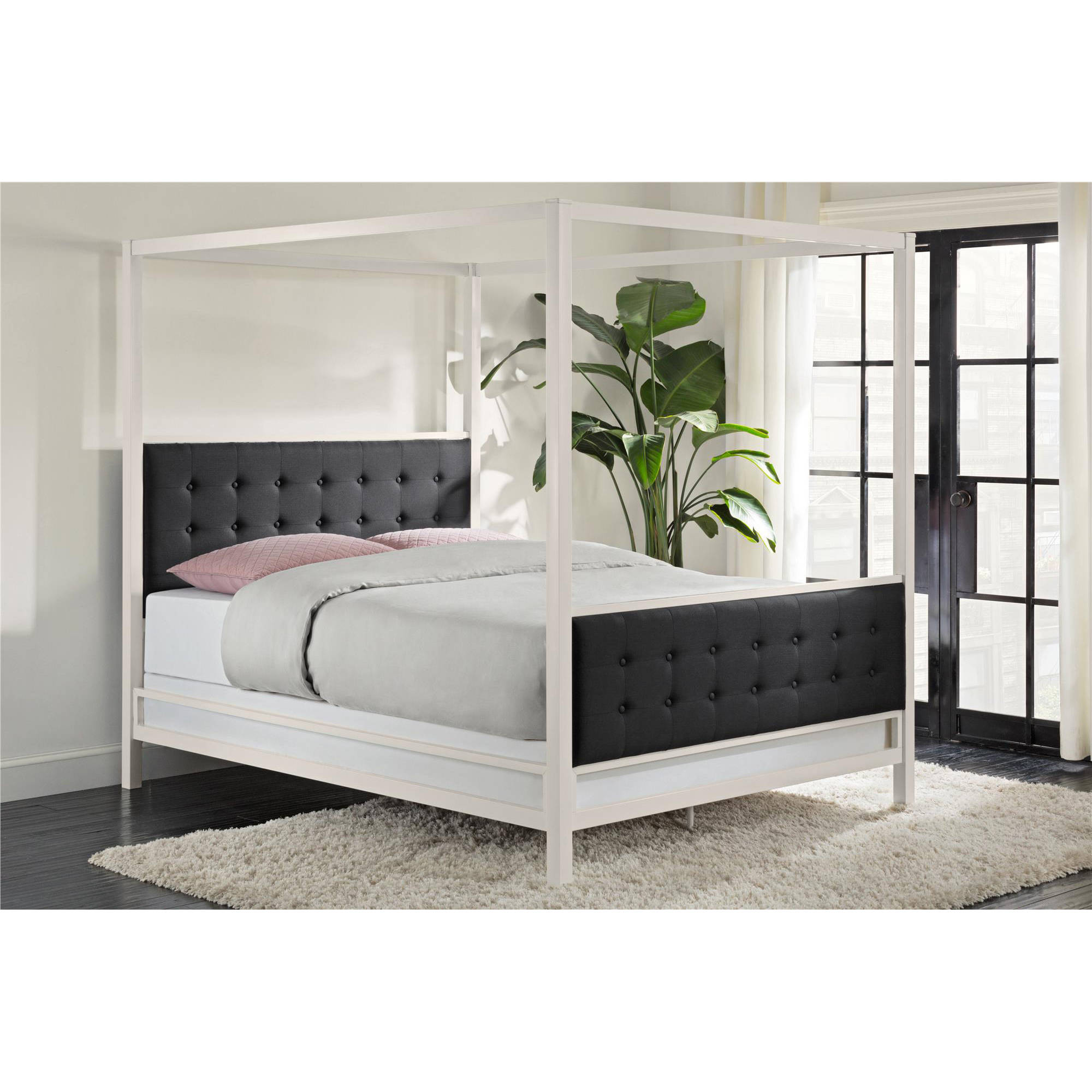 DHP Soho Modern Canopy Bed, White Metal with Black Linen, Queen (Box 2 of 2)