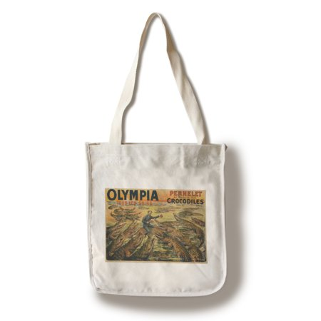 Olympia - Crocodiles Vintage Poster France (100% Cotton Tote Bag - Reusable) (Vintage Crocodile Handbags)