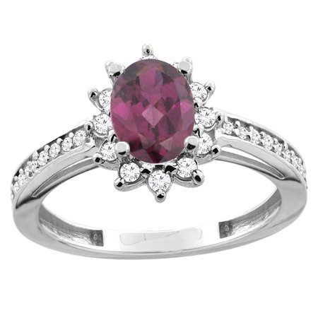 14K White/Yellow Gold Natural Rhodolite Floral Halo Ring Oval 7x5mm Diamond Accent, sizes 5 - 10