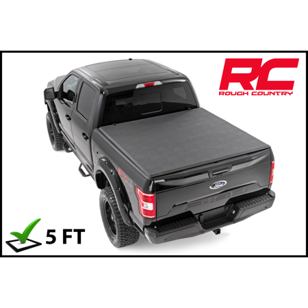 - Rough Country Soft Tri-Fold (fits) 2016-2019 Toyota Tacoma 5 FT Bed Truck Tonneau Cover 44716501 Soft Tri-Fold Bed Cover