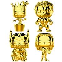 Funko POP! Games Marvel Studios 10: Groot, Hulk, Thor, Gamora (Gold Chrome Collector's Set), Vinyl Figure