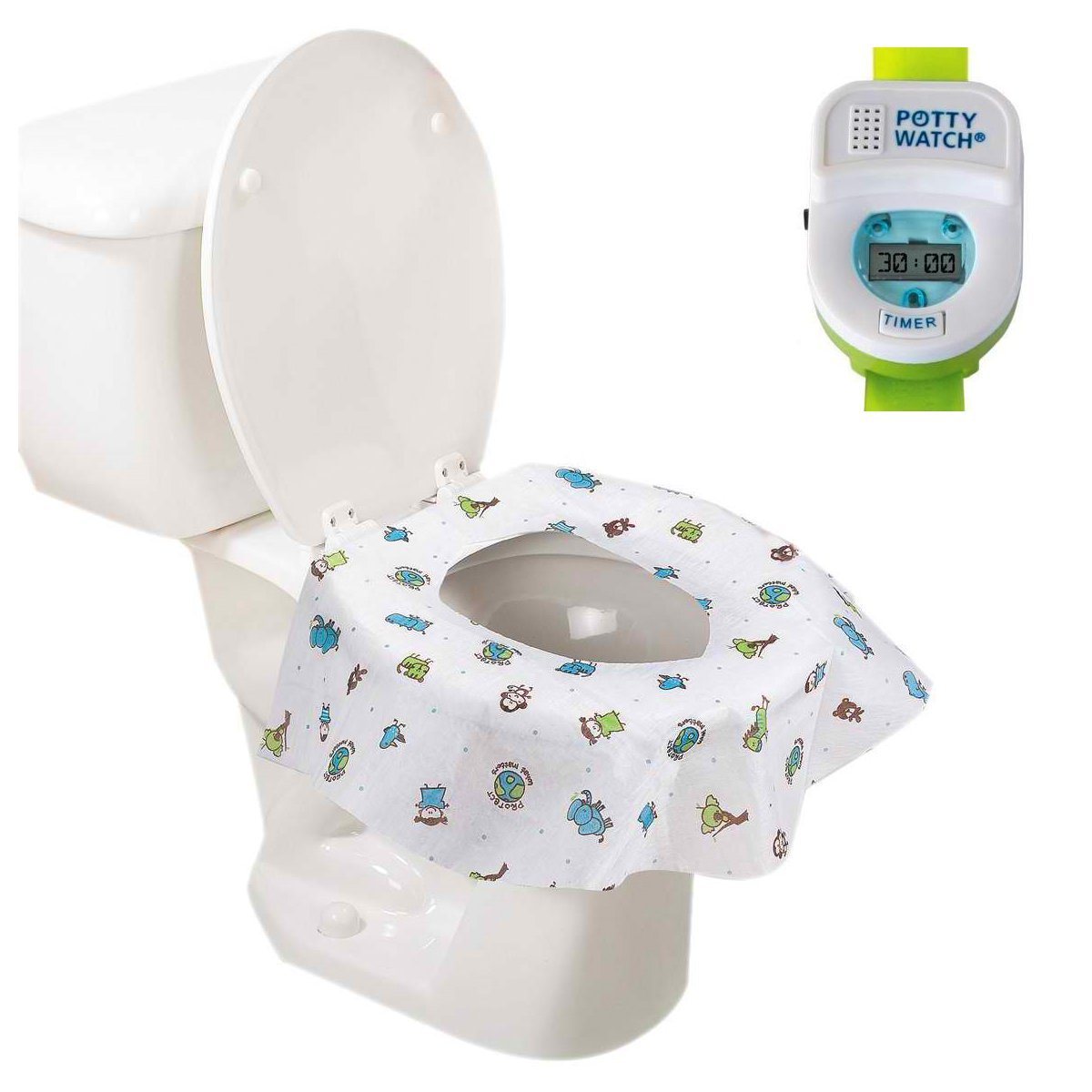 Potty Watch Potty Training Timer, Green with Potty Protectors, 20 Pack