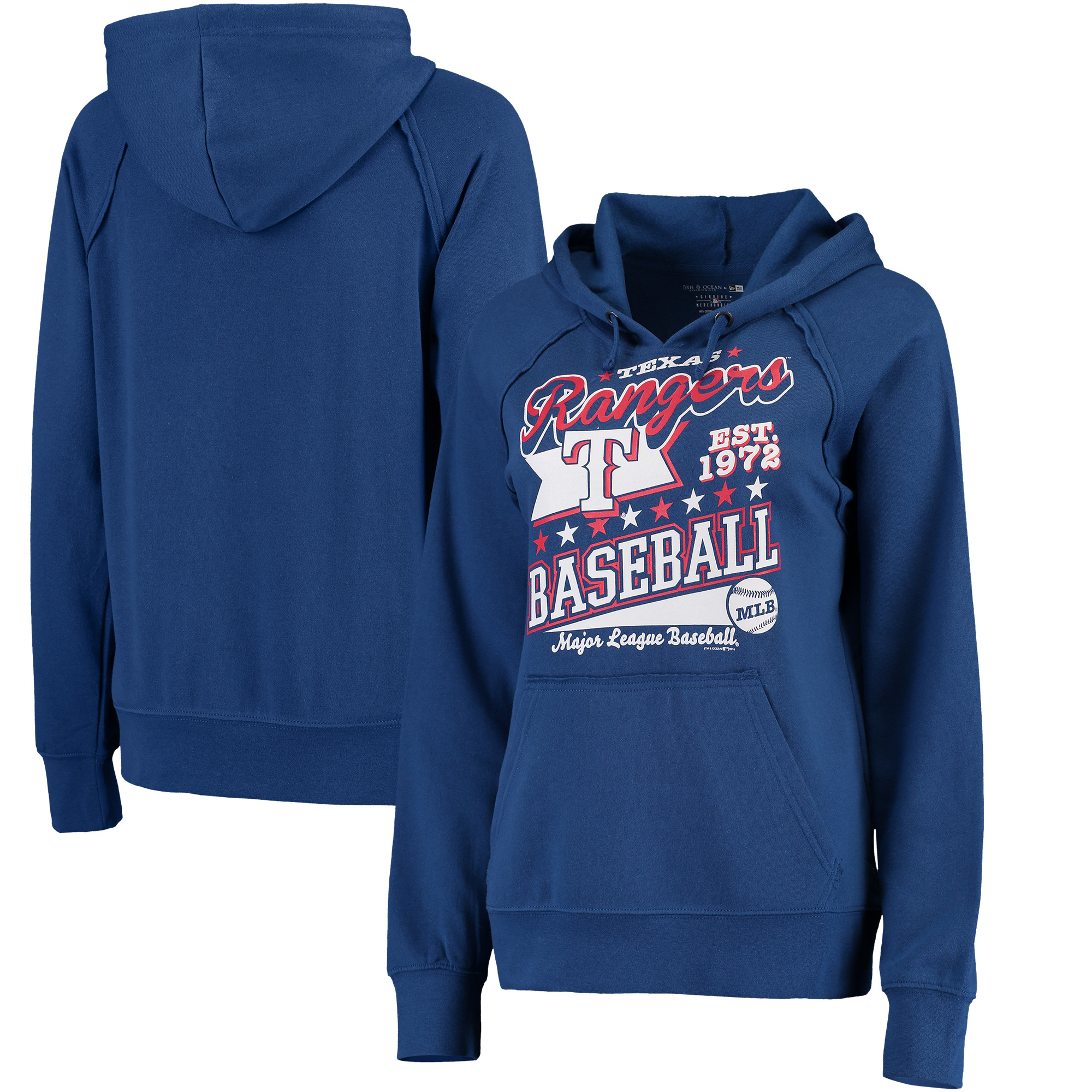 Texas Rangers 5th & Ocean by New Era Women's Raw Edges & Pouch Raglan Pullover Hoodie - Royal