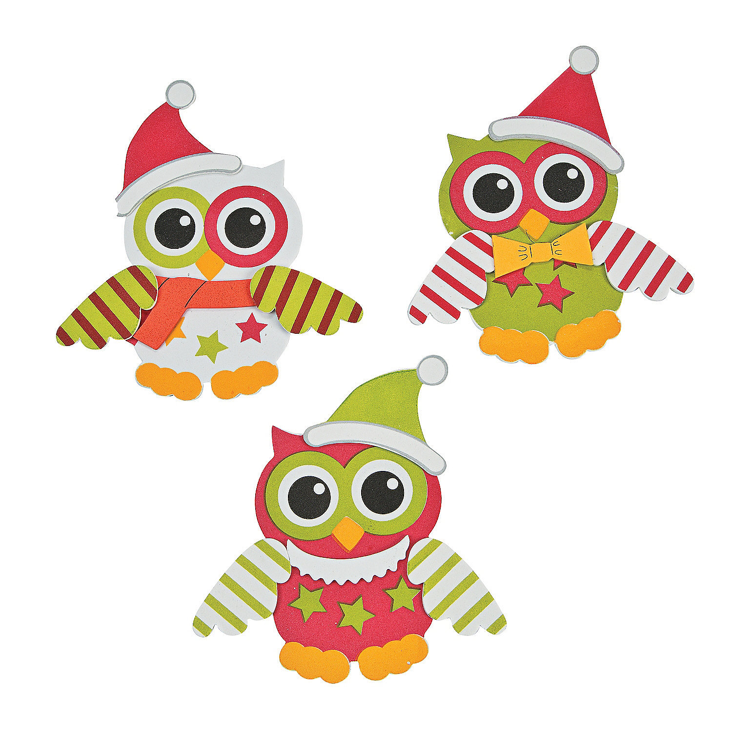 Fun Express - Christmas Owl Foam Magnet ck for Christmas - Craft Kits - Stationary Craft Kits - Magnet - Christmas - 12 Pieces