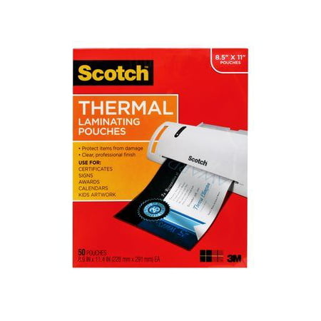 Scotch Thermal Laminating Pouches 50 Count, Letter Size (Crystal Clear Laminating Pouches)