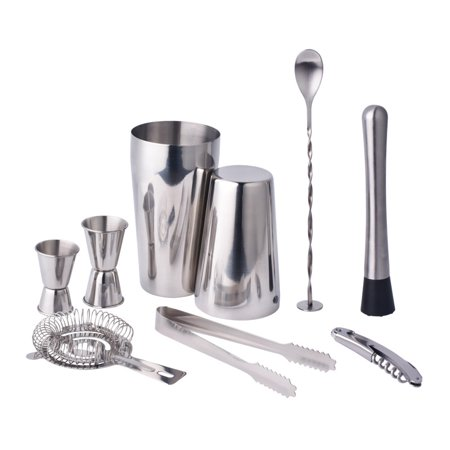 9 Pcs Set Cocktail Shaker Stainless Steel Bartender Tools Mixer - Professional Stainless Steel Bar Tools ()
