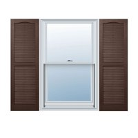 "14 1/2"" x 35"" Builders Choice Vinyl Open Louver Window Shutters, w/Shutter Spikes & Screws (Per Pair), Brown"
